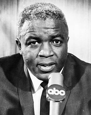 English: Publicity photo of Jackie Robinson as...