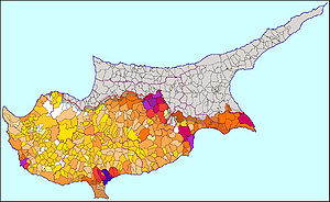 English: Population map of Cyprus, showing not...