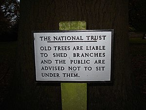 English: Sign at Brockhampton Park A sad refle...