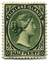 Halfpenny postage stamp, issued 1891.
