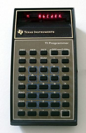 TI-Programmer in hexadecimal mode (indicated b...