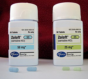 Two bottles of the antidepressant Zoloft (sert...