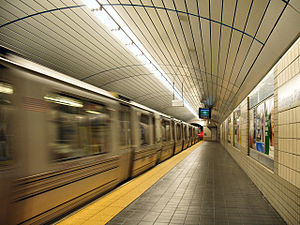 Hoboken- and Newark-bound platform at Exchange...