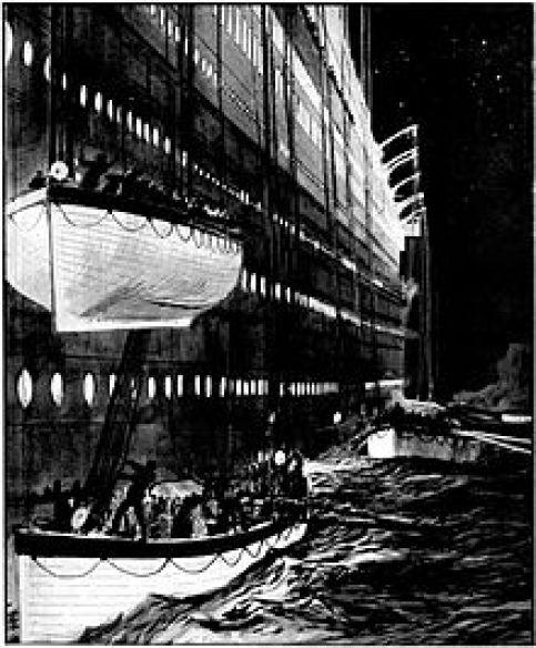 Pintura de botes salvavidas que es bajado por el lado de Titanic, con un bote salvavidas a punto de ser rebajado en la parte superior de otra en el agua. Un tercer bote salvavidas es visible en el fondo.