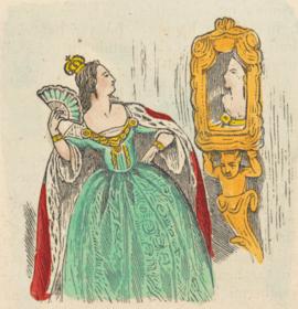 La regina si ammira davanti allo specchio in un'illustrazione della fiaba