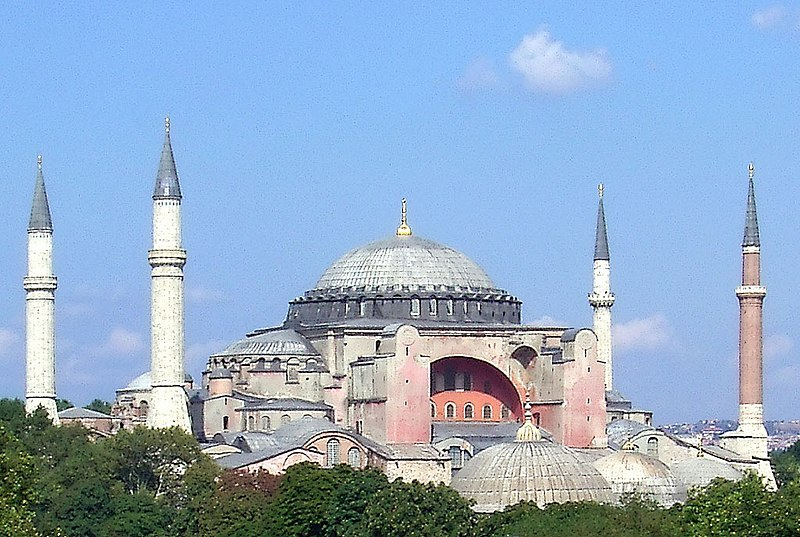 Church of Holy Wisdom in Constantinople, surrounded by minarets. The Great Church in Captivity. Photo (c) 2004, Robert Raderschatt. Wikimedia Commons.