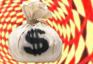A bag of money, US dollars, spinning in a vortex