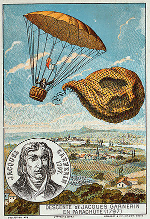 Garnerin releases the balloon and descends wit...