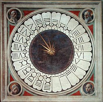 24-hours-clock painted by Paolo Uccello in San...