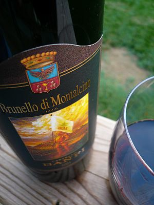 The Italian wine Brunello from Tuscany made fr...
