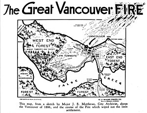 Map of Great Vancouver Fire, 1886