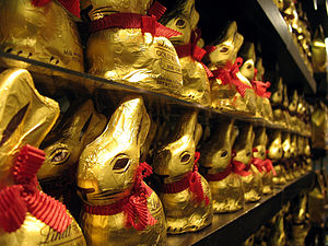 Display of Lindt chocolate bunnies