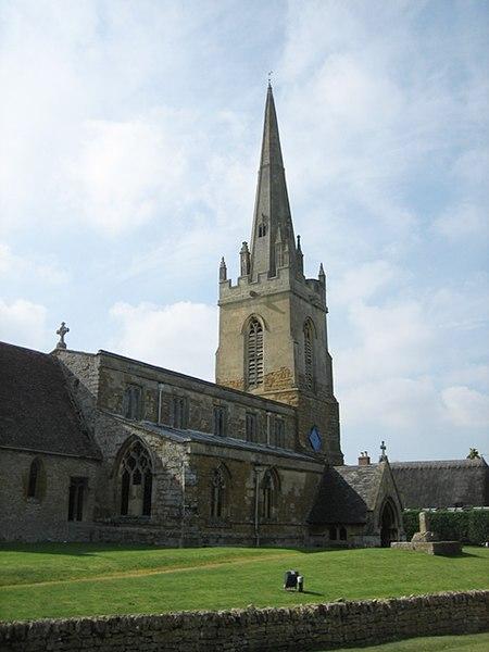 St Swithin's parish church, Lower Quinton, Warwickshire. Until 1931 this parish was in Gloucestershire.