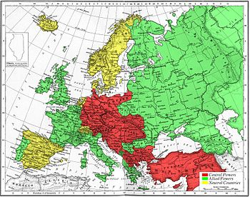 En rouge la Triple Alliance, en vert la Triple Entente (carte de 1915)