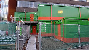 Construction offices made of shipping containers.