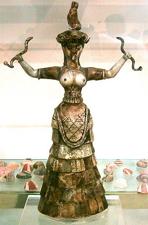 Snake goddess from the Palace of Knossos, Crete.