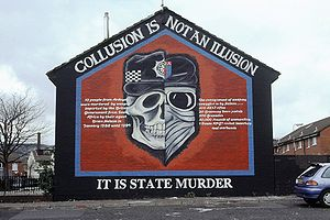 A mural in Belfast on collusion between the Br...