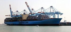 The Elly Mærsk, here at Zeebrugge port, is cur...