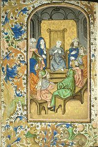 Miniatura di Maria e San Giuseppe che scoprono Gesù tra i dottori del Tempio. Tratto dal Libro delle Ore di Enkhuisen, tardo XV secolo