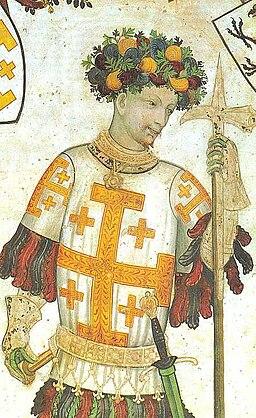 Godfrey of Bouillon, holding a pollaxe. (Manta Castle, Cuneo, Italy)