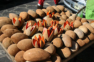 A bunch of mamey fruit in a market in Tepoztla...