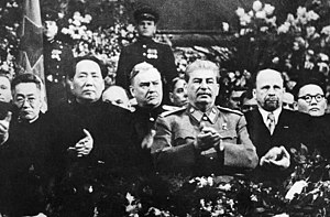 Mao at Stalin's side on a ceremony arranged fo...