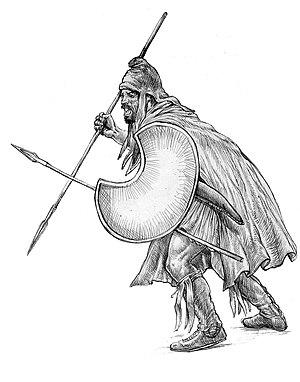Thracian peltast 5-4th century BC. Drawing - b...