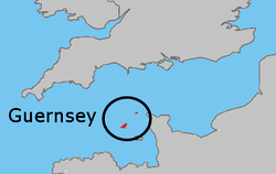 Location of  Guernsey  (Dark Green)