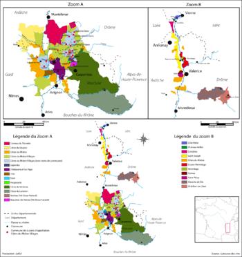 Les vignobles de la vallée du Rhône