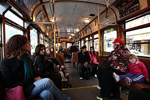 Interior of a W Series tram in Melbourne. This...