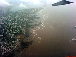 Aerial view of the Bandra coast
