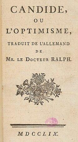 Édition princeps − «M. le Docteur Ralph» est un des nombreux pseudonymes de Voltaire