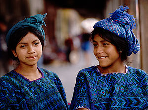 Guatemalan girls in Chichicastenango.