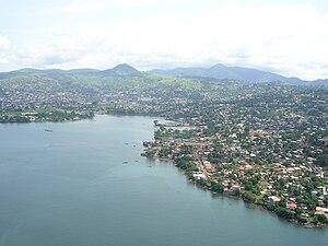 Aerial view of Freetown, Sierra Leone Taken on...