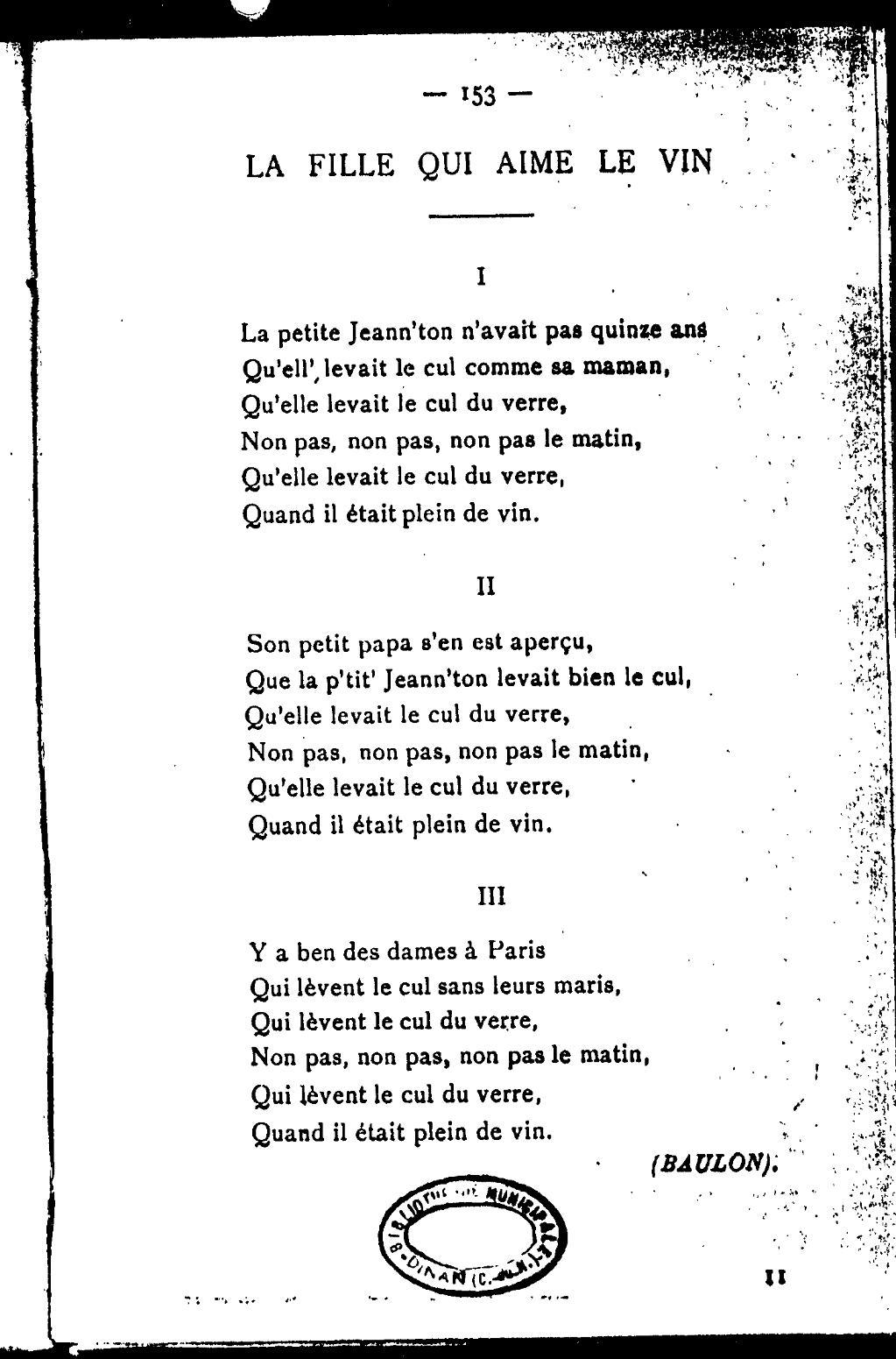 Non Pas Dans Le Cul : Page:Louis, Esquieu, Cahier, Chansons, Populaires.djvu/152, Wikisource
