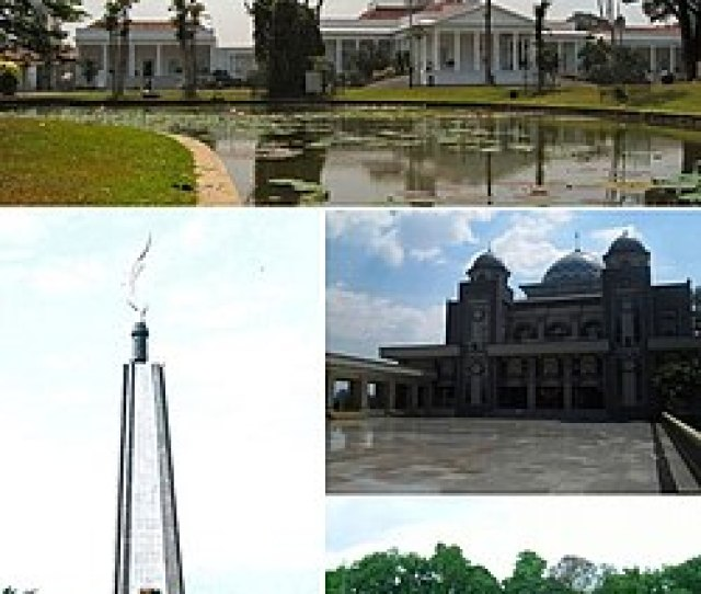 From Top Clockwise Bogor Palace Great Mosque Of Bogor Bogor Botanical Garden