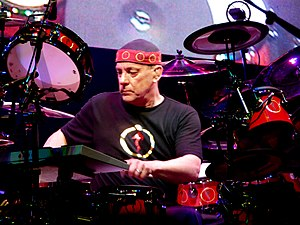 English: Neil Peart of Rush live in concert at...