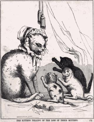 An illustration from R. N. Ballantyne's 1858 story based on the Three Little Kittens nursery rhyme.
