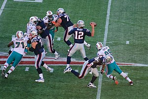 English: Some of the Miami Dolphins players an...