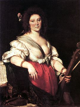 The Viola da Gamba Player (»Gambenspielerin«), c. 1630-1640, (Gemäldegalerie, Dresden) by Bernardo Strozzi, believed to be of Barbara Strozzi.