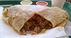 English: A carne asada burrito from El Patron ...