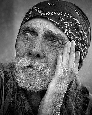 Portrait of homeless man