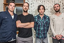 Hoobastank's lineup in 2013, From left to right, Dan Estrin, Chris Heese, Doug Robb, and Jesse Charland.jpg