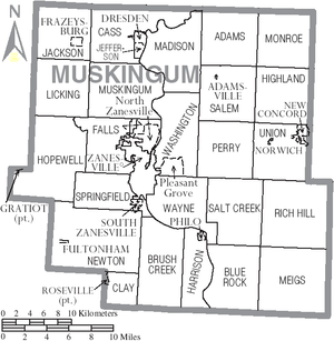 Map of Muskingum County, Ohio, United States w...
