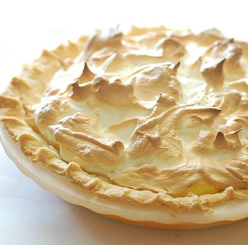 Mum's lemon meringue pie from above.