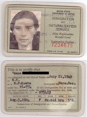 Alien Registration Receipt Card