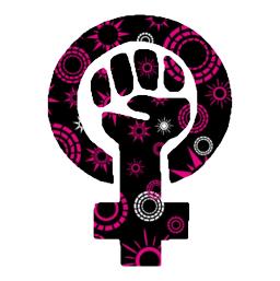 Pink and black feminist symbol