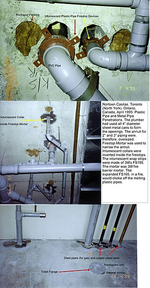 Plastic piping and firestops being installed i...