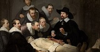 "A painting of an autopsy, by Rembrandt, entitled ""The Anatomy Lesson of Dr. Nicolaes Tulp"""