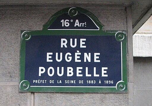 Rue Eugène Poubelle plaque